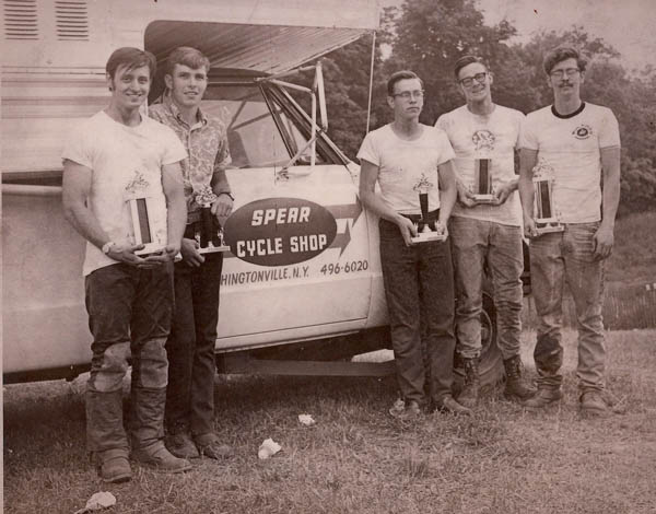 In front of the old Spear Cycle truck from left to right: Jim Bates,Tommy Cullin, Mike Spear, Ed Spear and Joe Spear.